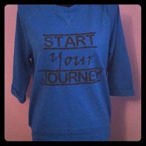 Pink Lotus blue crew sweatshirt with 3/4 sleeves